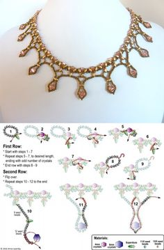 FREE beading pattern for Framed Crystal Drops necklace - DIY Schmuck Bead Embroidery Patterns, Beading Patterns Free, Beaded Embroidery, Bead Patterns, Weaving Patterns, Knitting Patterns, Crochet Patterns, Embroidery Bracelets, Mosaic Patterns