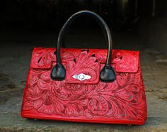 Juan Antonio Brick Red Tooled Leather with Black Inlay Handbag