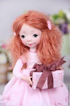"""Купить Авторская кукла """"Катрин"""" - кремовый, розоый, рыжий, коричневый, кукла, коллекционная кукла, ooak"""