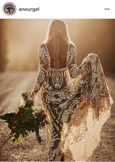 Wow! What a wedding dress - boho style ღ Stylish outfit ideas for women who follow fashion.