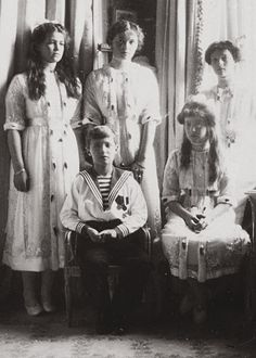 The Imperial Children of Russia, L-to-R: Grand Duchess Maria, Tsarevich Alexei, Grand Duchesses Olga, Anastasia and Tatiana.