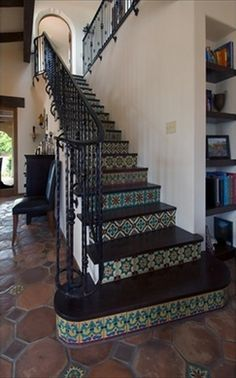 spanish style homes for sale san diego Spanish Style Homes, Spanish House, Spanish Revival, Spanish Colonial, Spanish Pool, Spanish Tile, Tile Stairs, Mosaic Stairs, Wood Stairs