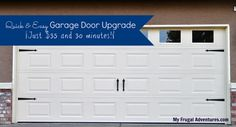 Super quick and easy DIY garage door upgrade.  Take a plain door to a fancy carriage style in 30 minutes and for $35 or less.  Instant curb appeal!