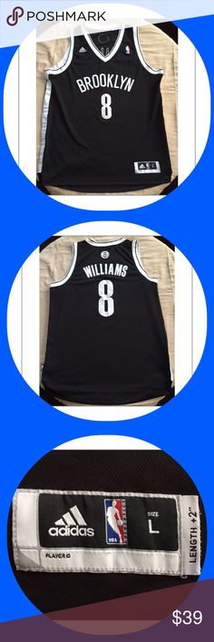 🏀Adidas Deron Williams Brooklyn Nets Jersey-L Men's Deron Williams #8 Brooklyn Nets Swingman Jersey. Like new condition. Size Large. Made by Adidas. NBA logo on the back of the neck. Athletic-cut jersey fits closer to the body through reduced body length & width. Back hem of jersey hangs 2 inches longer than the front. Re-engineered Climacool fabric for enhanced comfort & performance. Tagless collar. Machine washable. Officially licensed. Made of 100% polyester. The chest measures…