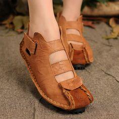 Vrouwen vintage comfortabele lederen schoenen - Tkdress - 1