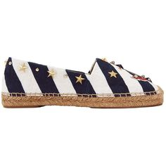 Dolce & Gabbana Women's Nautical Embellished Flat Espadrilles (£555) ❤ liked on Polyvore featuring shoes, sandals, stripe, dolce gabbana espadrilles, flat espadrilles, dolce gabbana sandals, espadrille sandals and espadrilles shoes