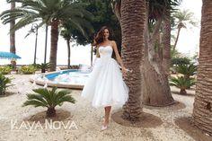 Wedding dress Ava by Kaya Nova. Draped V-neckline is decorated with flowers gold color. Zipper back. European Wedding, Tea Length, Beautiful Bride, Dress Collection, Ava, Wedding Styles, Designer Dresses, Nice Dresses, Wedding Gowns