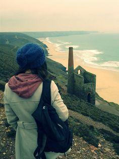 brasher fan, Fini La Plonge, admiring the Cornish mining heritage at Wheal Coates, Chapel Porth.