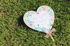 Leque de Coração para Casamentos | Download de papelaria de casamento | Wedding fan | wedding heart fan