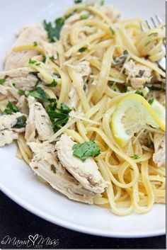 Lemon Chicken Linguine  Ingredients 8 oz linguine   2 chicken breasts  1 teaspoon olive oil  salt & pepper to taste  4 tablespoons unsalted butter  1/4 finely chopped parsley  5 lemons, freshly squeezed  1/2 cup grated parmesan cheese   Garnish  1/8 finely chopped parsley  thin lemon slices  1/8 cup grated parmesan cheese