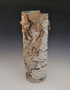 Lenni Lampi - Birch Series - Subtle Surface Vase with Green