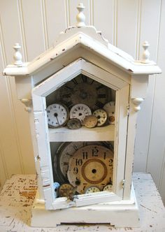 Antique Clock Case Wooden Shabby White Decor Wood Display Case Ornate Clock…