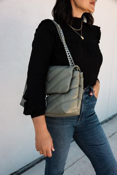 Ruffle Yoke Blouse | Kendi Everyday Good Hair Day, Vintage Jeans, Everyday Fashion, Cool Hairstyles, Give It To Me, Skinny Jeans, Blouse, Fancy Hairstyles, Vintage Denim
