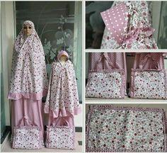 Mother Daughter Matching Prayer Outfit Clothes Dress Telekung Mukena Girls Women