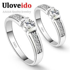 Find More Rings Information about Silver Plated 2 Pcs Engagement Ring Wedding Ring Set Women Men Jewelry Cubic Zirconia aliancas de casamento Wholesale Ulove J292,High Quality silver and gold engagement ring,China silver ring right hand Suppliers, Cheap ring transformer from Uloveido Official Store on Aliexpress.com