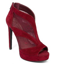 Jessica Simpson Adaway LacePaneled PeepToe Platform Pumps #Dillards suede mesh vampire red, thunder grey, black 4.7h sz7.5 110.00