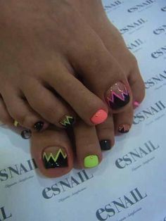 Black with neon pink orange and yellow