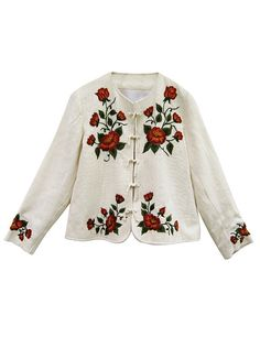 Productos | Tejidos | Salta Trading Embroidery On Clothes, Embroidered Clothes, Silk Ribbon Embroidery, Crewel Embroidery, Embroidery Designs, Jean Bordado, Chemises Country, Fashion 2017, Womens Fashion