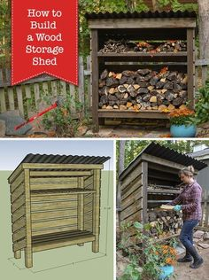 Build a Wood Storage Shed Pretty Handy Girl ~ Welcome! I'm really excited to share with you the plans for How to Build a Wood Storage Shed today. This project is sure to dress up your fire pit area or create a nice spot to store and preserve firewood f Diy Storage Shed Plans, Wood Storage Sheds, Wood Shed Plans, Diy Shed, Storage Ideas, Garage Plans, Diy Storage Building, Wood Storage Rack, Barn Plans
