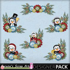 Holiday Happenings Penguin digital Scrapbooking embellishment clusters
