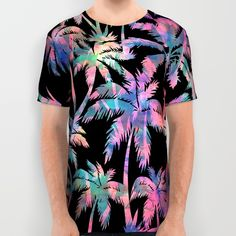 This t-shirt looks like a Hawaiian shirt! So cool! Maui Palm {Black} Print All Over T-shirts for men and women  by Schatzi Brown for @society6  #fashion #NYFW #mensfashion