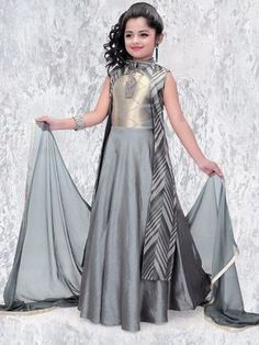 Shop Party wear silk party wear anarkali suit in grey color online from India. Frocks For Girls, Gowns For Girls, Dresses Kids Girl, Flower Girl Dresses, Latest Gown Design, Girls Party Wear, Baby Dress Design, Kids Lehenga, Kids Gown