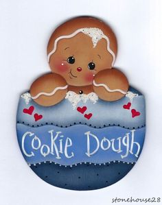 948b0e1f4c27b HP GINGERBREAD Cookie Dough FRIDGE MAGNET  Handpainted Galletas De Gengibre