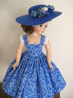 Blue pansies print sundress & hat - by DollDreamsByNatalie for vintage Madame Alexander Cissy www.DollDreamsByNatalie.com