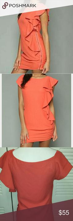 Blaque Label Coral Ruffle Dress Worn only once. Awesome color with ruffle & exposed left side zipper Blaque Label  Dresses Mini