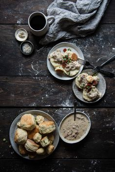scallion biscuits & lap cheong gravy   two red bowls