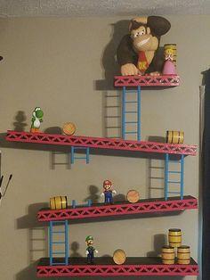 Donkey Kong Shelf Final Form Donkey Kong, Super Mario Room, Super Mario Art, Video Game Bedroom, Video Game Rooms, Game Room Decor, Nursery Room Decor, Nintendo Room, Mario Crafts