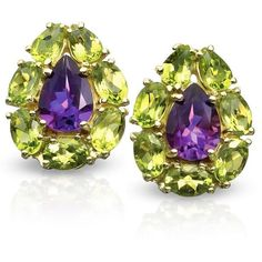 Amethyst and Peridot Amethyst and Peridot Pear-Shaped Earrings ($1,950) ❤ liked on Polyvore featuring jewelry, earrings, pear shape earrings, peridot jewelry, amethyst jewellery, 18 karat gold earrings and 18 karat gold jewelry