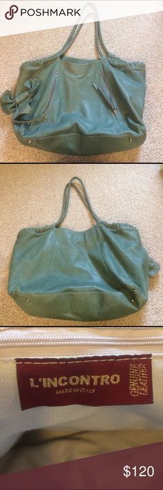 Leather satchel bag Beautiful Italian leather bag! It's a pretty green/teal color. Used twice, enjoy :) Bags Hobos