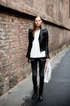 ★ Rock 'n' Roll Style ★ Freja Beha Erichsen's Classic Leather Jacket Looks | The Front Row View