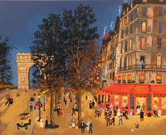 Michel Delacroix, Une visite - Suite - Terrasse de café, Serigraph on Paper
