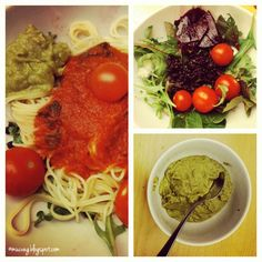 lovely pasta with tomato and guacamole for lunch on vegan wednesday #26