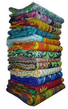 Indian Old Kantha Quilt Reversible Throw Gudari Bedspread Indian 20 PIEC Vintage #Handmade #Traditional