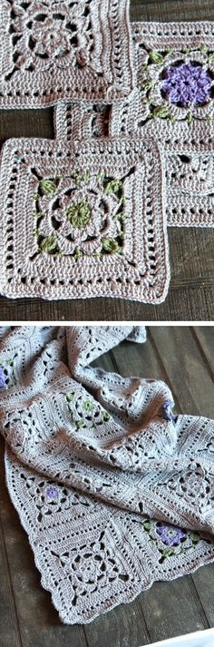 Named simply 'Grey Crochet Throw', free square pattern by Elaine of ItalianDishKnits. Worked in Cascade Ultra Pima cotton for stitch definition & drape. Predominant gray is set off by touches of purple & light green.   ༺✿Teresa Restegui http://www.pinterest.com/teretegui/✿༻