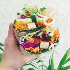 the-peachy-pear: Wraps done right Spinach, purple cabbage, cucumber, carrot, tomato, tofu, snow pea sprouts, and HUMMUS