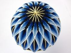 Made to Order decorative ball home decor - illusions of blue - hand embroidered thread ball - japanese temari