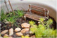 fairy bench made of sticks