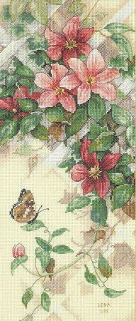Clematis and butterfly cross stitch kit