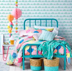 Adairs Kids Lena Quilt Cover Set, kids quilt covers, kids doona covers - love the pops of colour against a white backdrop. Cool Kids Bedrooms, Girls Bedroom, Bedroom Decor, Kids Rooms, Bedroom Colors, Bedroom Sets For Kids, Bedroom Wall, Small Childrens Bedroom Ideas, Cool Girl Rooms