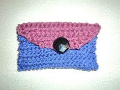 Two tone purple crochet change purse Crochet Change Purse, Card Holder, Beanie, Purses, Trending Outfits, Unique Jewelry, Hats, Handmade Gifts, Vintage