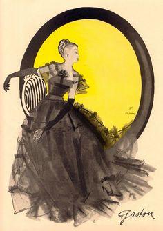Evening Gown by Gaston 1945 - Fashion Illustration by René Gruau, http://www.pinterest.com/adisavoiaditrev/
