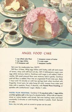 Vintage Recipes, 1950s Cakes, Angel Food Cake