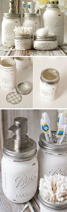 Mason Jar Bathroom Storage & Accessories Dollar Store Organization Ideas For… Diy Bathroom, Mason Jar Bathroom, Bathroom Storage, Bathroom Ideas, Kitchen Storage, Bathroom Small, Modern Bathrooms, Bathroom Layout, College Bathroom