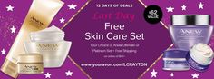 On the 12th day of Christmas Avon gave to me, my choice of 3 piece skin care regimens with any $45.00 Avon order PLUS FREE Shipping!!! www.youravon.com/LCRAYTON