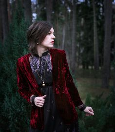 Decadent Burgundy Crushed Velvet Jacket