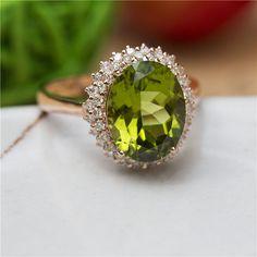 8X10mm Green Peridot Ring 14K Rose Gold Ring Oval by AbbyandWills, $899.00
